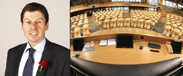 Presiding Officer Ken Macintosh MSP along with the view from his chair in the Chamber of the Scottish Parliament.