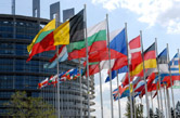 Flags at the European Commission in Brussels. Picture: Lemonc / Wikimedia Commons