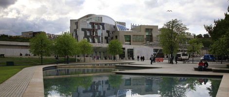 An external view of the Scottish Parliament building.