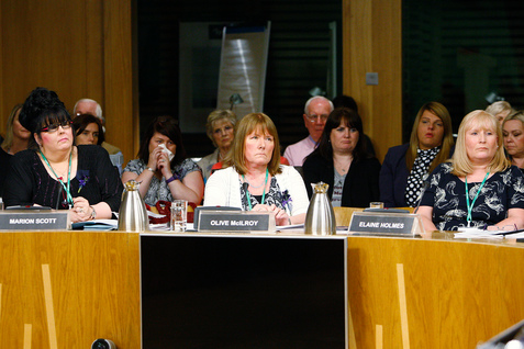 Olive McIlroy and Elaine Holmes appear before the Scottish Parliament's Public Petitions Committee to give evidence on the petition by the Scottish Mesh Survivors