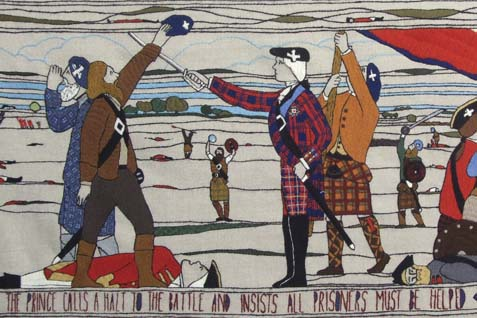 "One of the world's longest tapestries, which has been described as a ""medieval cartoon strip"" bursting with Scottish history, is now on display at the Scottish Parliament."