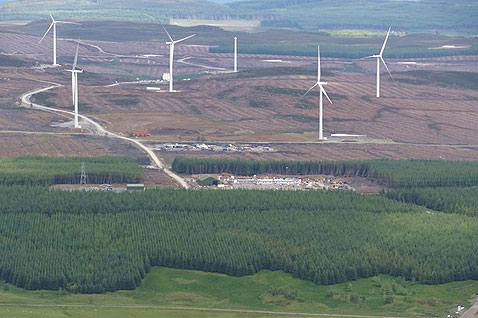 Picture from Meall Dearg, looking at the construction site for the Griffin Wind Farm being constructed by Scottish and Southern Energy.