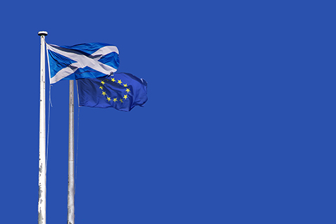 The Scottish Saltire and European flags flying in the wind.