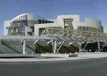 Exterior of the Scottish Parliament building.