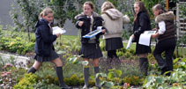 Image of pupils in the Parliament gardens