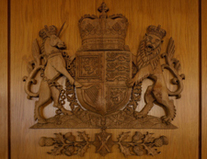 The carved Scottish Royal Arms which is located at the public entrance to the Scottish Parliament in the Main Hall