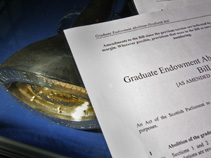 The Graduate Endowment Abolition Bill next to the Mace