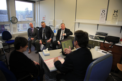Members of the Welfare Reform Committee watch a demonstration of a work-capability assessment at Atos Healthcare, Edinburgh. Left to right, Kevin Stewart MSP, Alex Johnstone MSP and Committee Convener Michael McMahon MSP