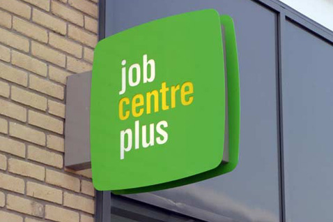 Job centre Plus sign.  Published under Open Government licence.